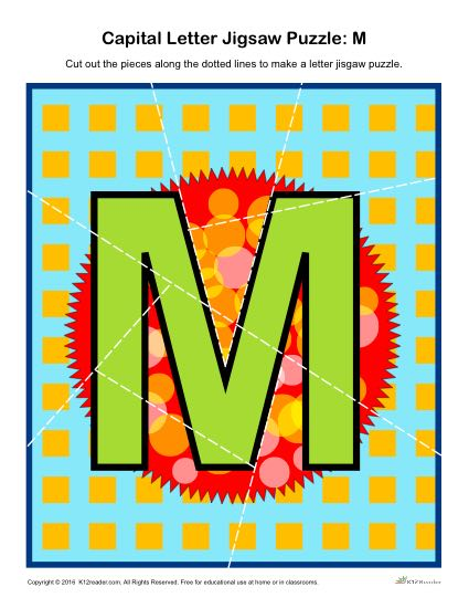 Preschool Alphabet Activity - Printable Capital Letter M Jigsaw Puzzle