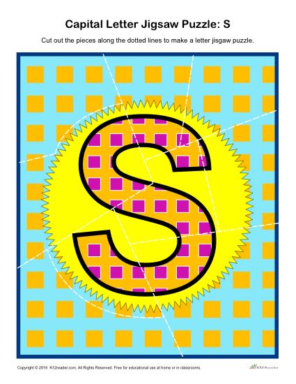 Preschool Alphabet Activity - Printable Capital Letter S Jigsaw Puzzle