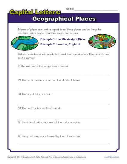 Capitalization Worksheet for Second Grade Literacy