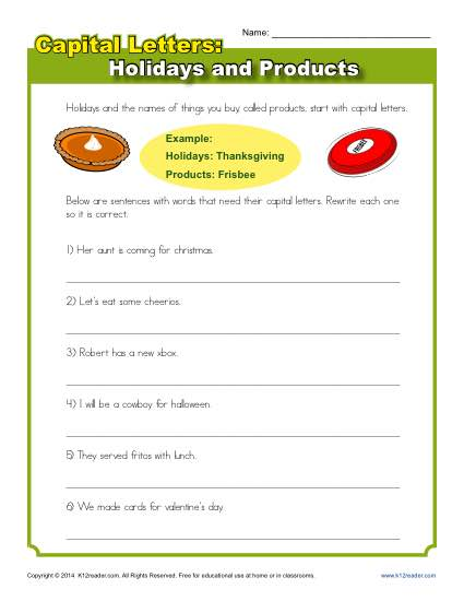 Capitalization Worksheet Holidays And