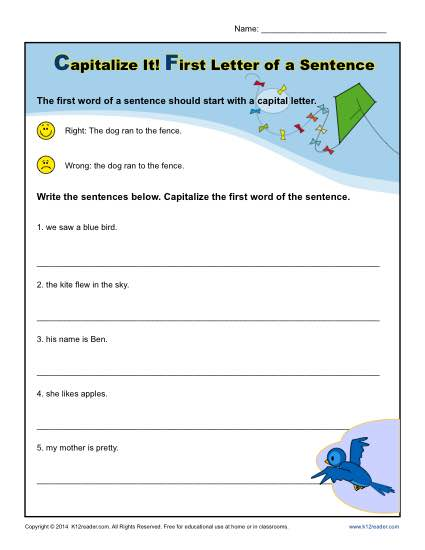 Kindergarten Capitalization Worksheet - First Letter of a Sentence
