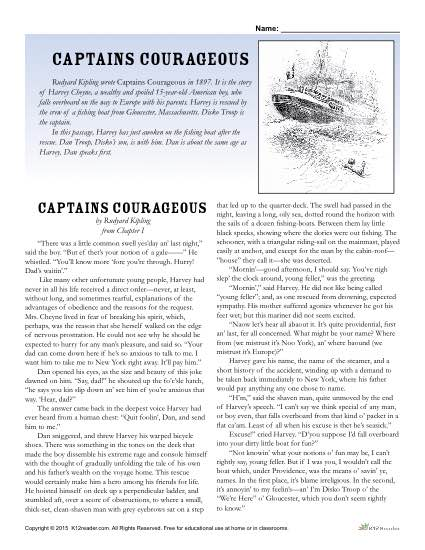 Captains Courageous Classic Literature Worksheet Activities