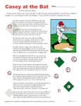 Casey at the Bat 4th and 5th Grade Reading Comprehension Worksheet Set
