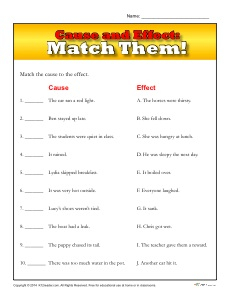 Cause and Effect Worksheet for 3rd and 4th Grade