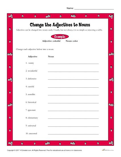 Change the Adjectives to Nouns | Printable 3rd-4th Grade ...
