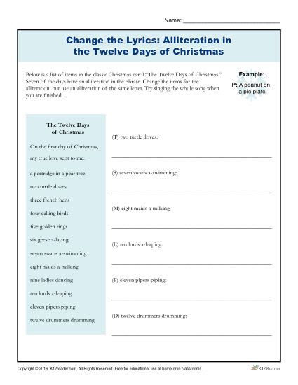 Change the Lyrics: Alliteration in the Twelve Days of Christmas Activity