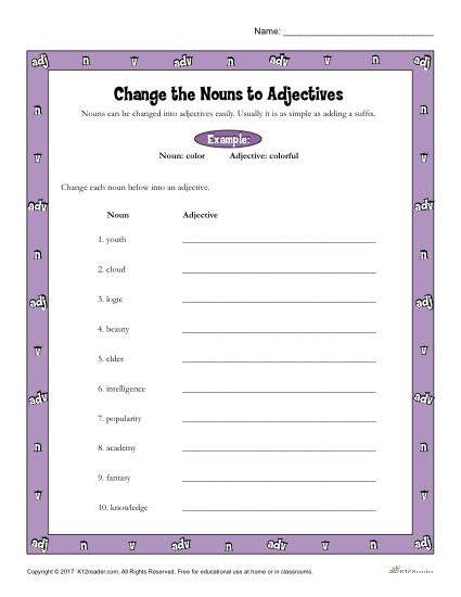 Change the Nouns to Adjectives Worksheet Activity