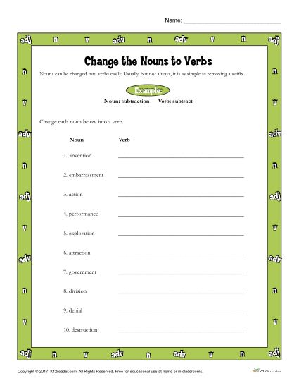 Change the Nouns to Verbs Worksheet Activity