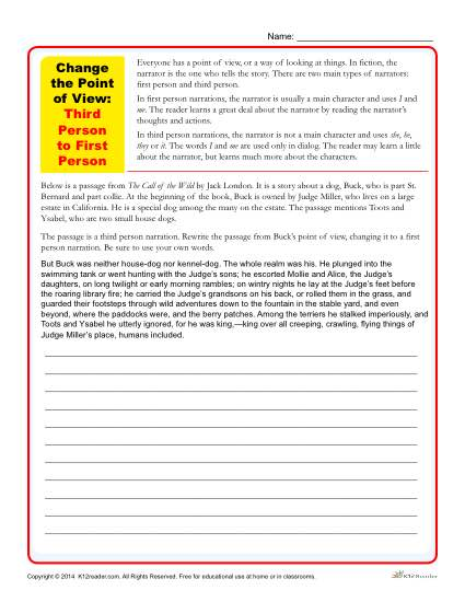 Change The Point Of View Worksheets 3rd To 1st Person