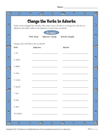 Change the Verb to Adverbs Worksheet Activity