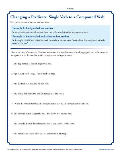 Worksheet Activity to Practice Changing a Predicate Single Verb to a Compound Verb