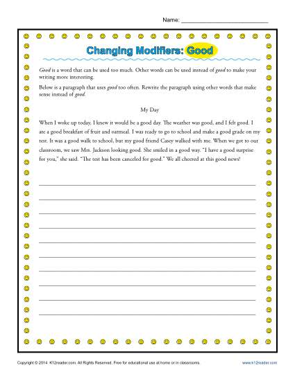 Changing Modifiers: Good | Word Usage Worksheet