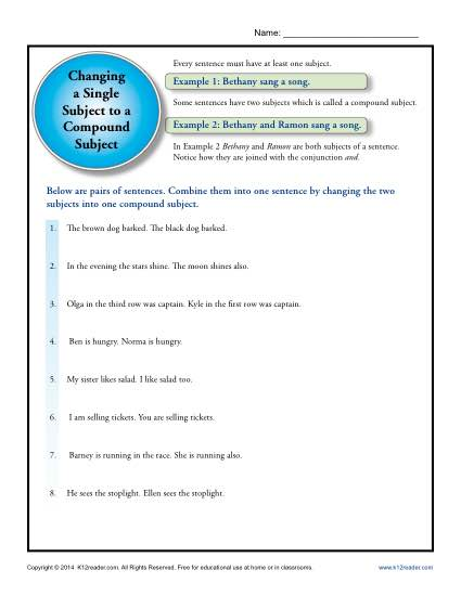 Single Subject To A Compound Subject Printable Worksheet