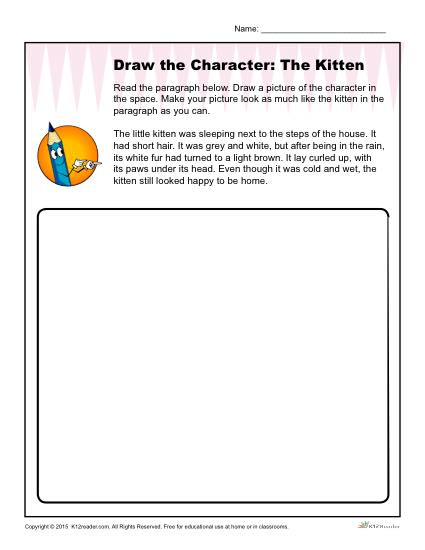 Character Description Worksheet - Draw the Kitten