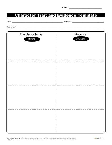 Character Traits Workshsheets | Evidence Template