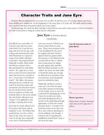 Free, Printable Character Traits Worksheet - Jane Eyre