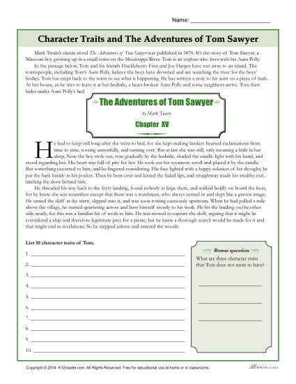 Character Traits Worksheets | The Adventures of Tom Sawyer