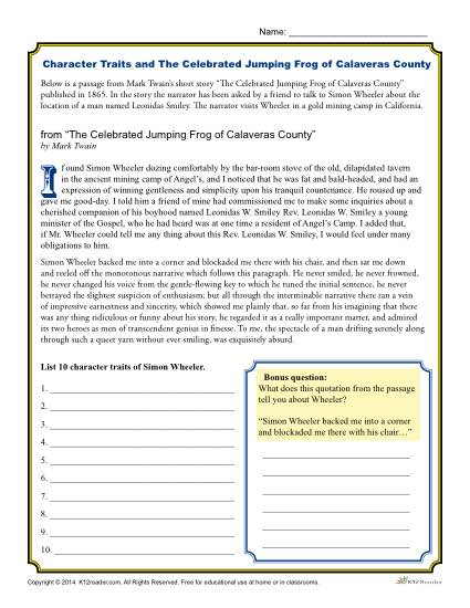 Free, Printable Character Traits Worksheet - The Celebrated Jumping Frog of Calaveras County