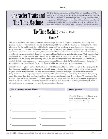character traits worksheets the time machine. Black Bedroom Furniture Sets. Home Design Ideas