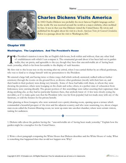 charles dickens views on america In terms of views, a comparable american writer could be upton sinclair  what are the political views of charles r schwab what was charles dickens' view of .