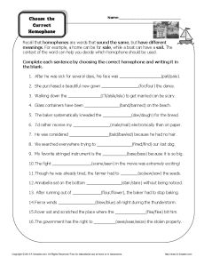 Choose the Correct Homophone - Free, Printable Worksheet Activity