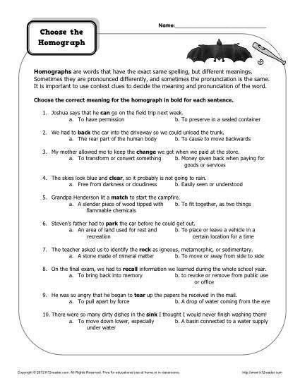 Worksheet - Choose the Homograph