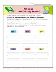 Choose Interesting Words Worksheet Practice Activity