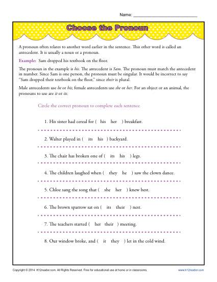 Pronoun Agreement Worksheet Activity - Choose the Pronoun