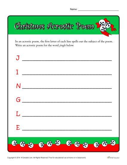 christmas acrostic poem worksheet activity for kids. Black Bedroom Furniture Sets. Home Design Ideas