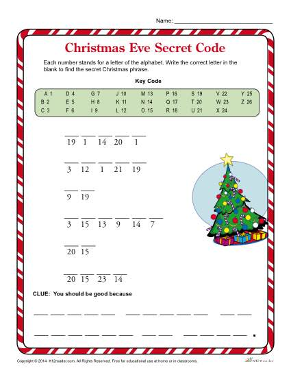 Christmas Eve Secret Code Christmas Worksheets For Kids