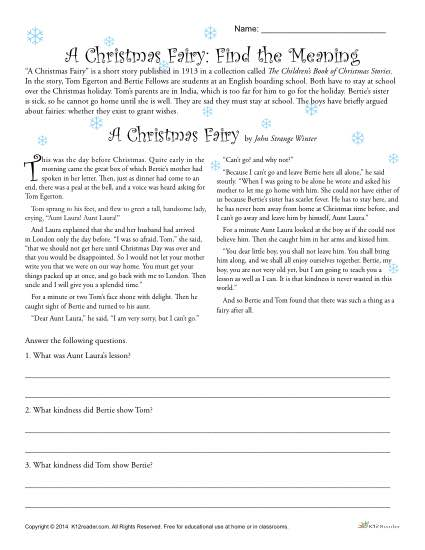 A Christmas Fairy Reading Comprehension Activity
