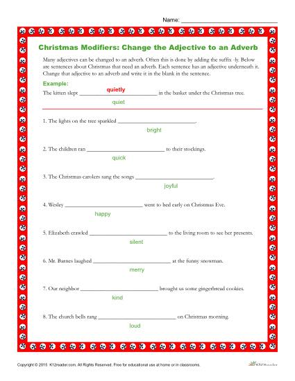Christmas Modifiers Worksheet | Change the Adjectives