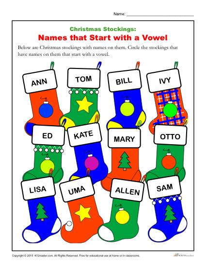 Christmas Stocking Worksheet - Names that start with vowels