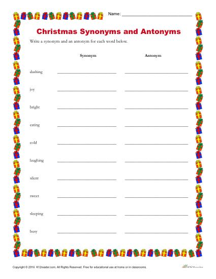 Christmas Synonyms And Antonyms Printable Holiday Writing Activity
