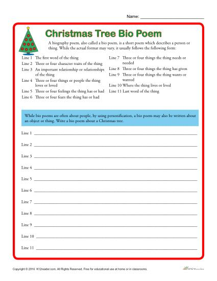 Christmas Tree Bio Poem Activity Worksheet