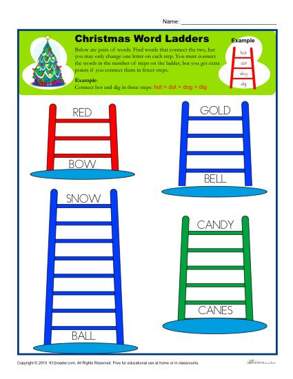 photograph about Word Ladder Printable identified as Xmas Worksheet Recreation Term Ladders
