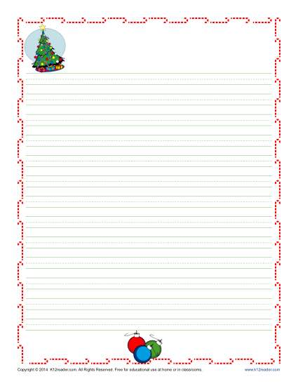 Christmas Writing Paper  Lined Paper With Drawing Box