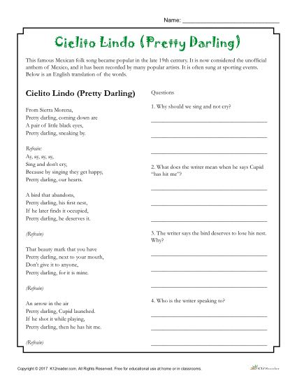 Cielito Lindo Pretty Darling School Activity