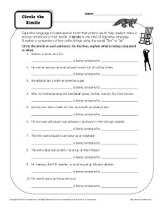Simile Worksheet Practice Activity - Circle the Similes