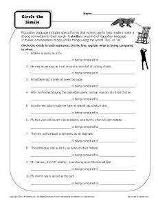 Figurative Language Worksheets | Simile Worksheets