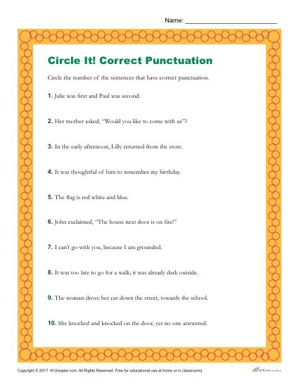 Which of the Following Sentences use Correct Punctuation?