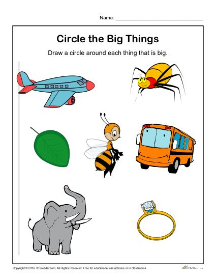 Preschool Worksheet Activity - Circle the Big Things!