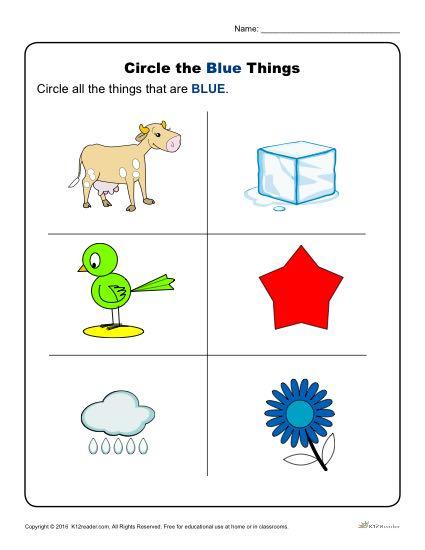 circle the blue things preschool color worksheets. Black Bedroom Furniture Sets. Home Design Ideas