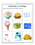 Preschool Worksheet Activity - Circle the Cold Things!
