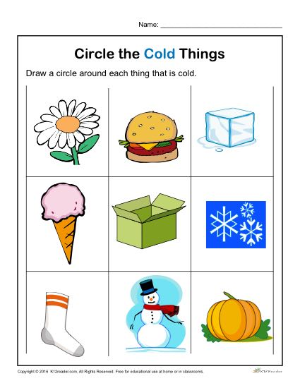 Circle the Cold Things | Printable Pre-Kindergarten Activity