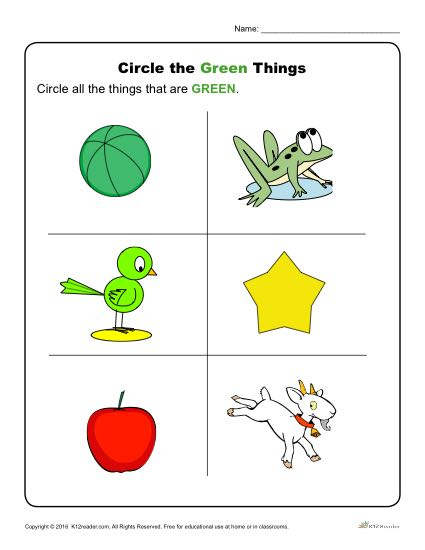 Circle The Green Things Preschool Color Worksheets