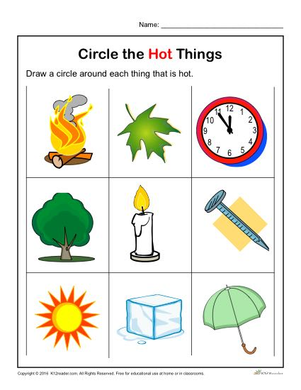 Preschool Worksheet Activity - Circle the Hot Things!