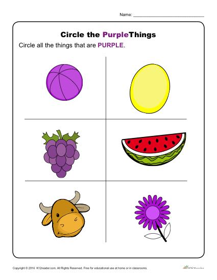Circle the Purple Things | Preschool Color Worksheets