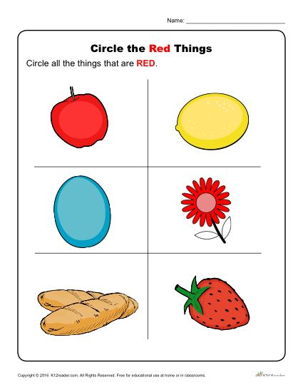 Circle The Red Things Preschool Color Worksheets
