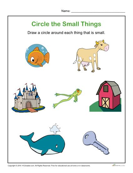 Preschool Worksheet Activity - Circle the Small Things!